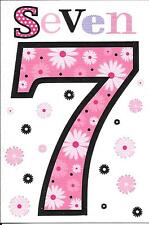 7th BIRTHDAY CARD - AGE 7 - PINK. FLOWERS
