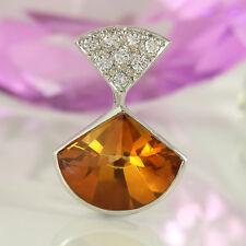 Anhänger in 750/- Weißgold mit 1 Citrin facettiert + 8 Diamanten ca 0,21 ct