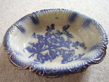 Collectable Antique England porcelain blue and white oval dish-bowl