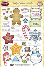 JUSTRITE CLEAR Rubber Stamps APPLIQUE CHRISTMAS LABELS ONE CR-02026 Gingerbread