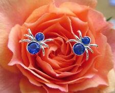 Ohrstecker Silber Spinne Insekt Krabbeltier Kristall dunkel blau