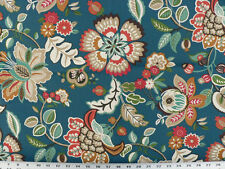 Drapery Upholstery Fabric Indoor/Outdoor Jacobean Floral - Blue Multi