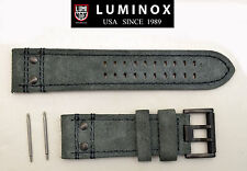 Luminox watch band 1880 Atacama Field Suede leather 26mm Grey strap 2pin rivets