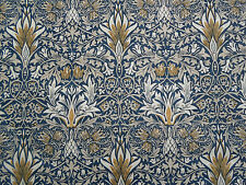 William Morris Curtain Fabric 'Snakeshead' 2.2 METRES (220cm) Indigo/Hemp