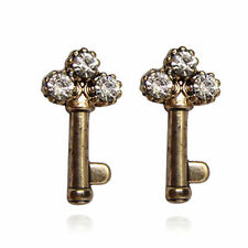 vintage retro antique style bronze key with crystal stud earrings