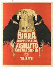 AFFICHE ANCIENNE BIERE BIRRA DOPPIO MALTO GIUSTO TRIESTE ITALIE ITALIA
