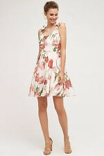 NWT SZ L $178 ANTHROPOLOGIE TULIPA DRESS BY PAPER CROWN FIT AND FLARE FLOWER 5ST