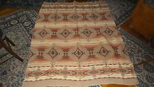 "Vintage Antique CAMP INDIAN BLANKET, Shades of Brown & Rust & Cream, 68""x58"""