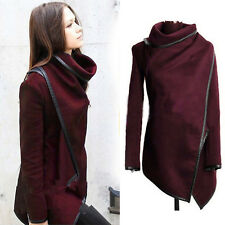 Women Trench Slim Collar Winter Warm Waterfall Coat Long Wool Jacket Outwear Top