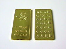 999 Gold Goldbarren Goldbar 5 Gramm Maple Leaf Design EDEL m. 999 Gold verg. NEU