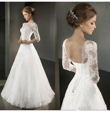 UK White/Ivory Appliqués Half Sleeve Wedding Dress Bridal Gown Size 8-16