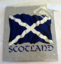 SCOTTISH FLAG/SALTIRE design  Grey TEE SHIRT, Large adult,  Wales/ Cymru