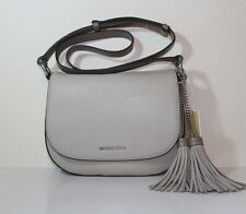 NWT Authentic MICHAEL Michael Kors Elyse Large Leather Saddle Bag CEMENT $298