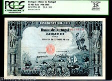 """PORTUGAL P85 """"ANGEL OF PEACE"""" 1910 50$000 REIS GRADED PCGS 25! ONLY 1"""