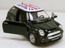 "Kinsmart Mini Cooper S 1:28 scale 5"" diecast model car w British Flag Green K95"