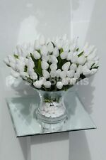 Pure White Tulip Floral Home Arrangement Table Vase Display