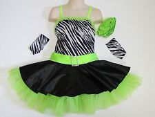 SKATING DRESS Lime Green & Zebra Print Ice Figure Skate Dance Outfit Child M