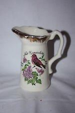 VINTAGE PORCELAIN SOUVENIR NEW HAMPSIRE CREAMER GOLD TRIM FINCH AND FLOWERS