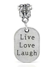 Live Love Laugh Inspirational Words Dog Tag Charm for European Bead Bracelets