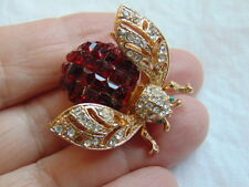 Elegant Ruby RED Bee Pin Emerald Cut RHINESTONE BROOCH Bug INSECT Honey BUMBLE