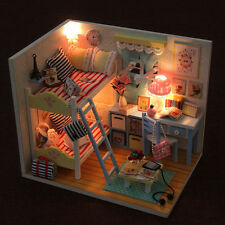 Kits dream DIY Wood Dollhouse with light miniature and Furniture large villa 12