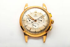 Vintage 1940s OMEGA TRIPLE Register CHRONOGRAPH 18k Yellow Gold Mens Watch RARE