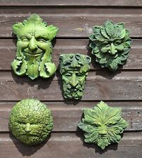 GREEN MAN WALL PLAQUES SET OF 5 CELTIC PAGAN FOLIATE STONE GARDEN ORNAMENTS