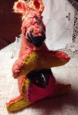 Kangaroo Hand Sewn Folk Art OOAK Woven Fabric With Joey Attached not a toy