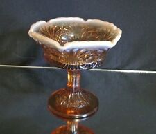 Vintage Signed Fenton Amber Candy Dish Opalescent Trim