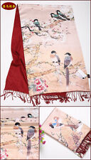 100% Silk Printing Pashmina Cashmere Scarf Shawl Wrap Double Layer Two Sided
