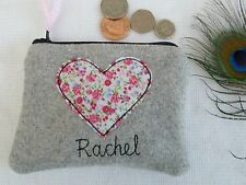 Handmade Personalised Heart Coin Purse choice of wording floral grey tweed gift