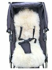 Sheepskin Baby Buggy Liner Stroller Pushchair Pram Lamb Skin white Natural SALE