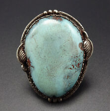 Vintage NAVAJO Hand-Stamped Sterling Silver & Huge TURQUOISE Man's RING, size 12