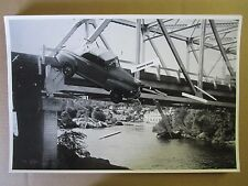 """12 By 18"""" Black & White PICTURE 1946 FORD Convertible Crashing From Bridge"""