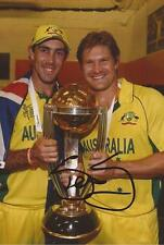 AUSTRALIA: SHANE WATSON SIGNED 6x4 WORLD CUP 2015 ODI TROPHY PHOTO+COA