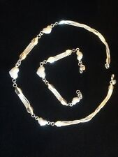 silver strand necklace and bracelet with love hearts stunning New 2015 handmade