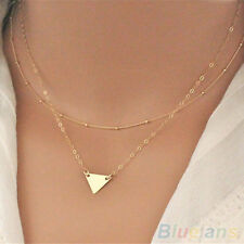 Women Charming Double Layers Gold Bronze Sequins Small Triangle Pendant Necklace
