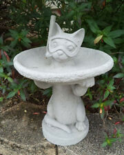 #2 LITTLE SNORKEL CAT KITTY GRAY CEMENT CONCRETE BIRD BATH OR FEEDER STATUE