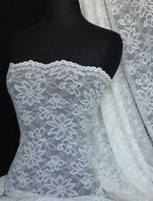 Ivory scalloped flower 4 way stretch lace Q891 IV