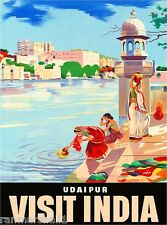 Visit India Indian Asia Asian Vintage Travel Advertisement Art  Poster