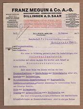 DILLINGEN/SAAR, Brief 1918, Maschinen-Fabrik Franz Meguin & Co. AG