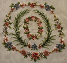 """27x27"""" Vintage PREWORKED Needlepoint Canvas - Spring Leave Coral Roses Wreath"""