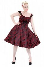 Hearts & Roses Dress Plus sz 1 1x Red Black Brocade Lace-Up Goth Rockabilly Tea
