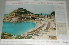 1955 Pan Am airlines 2-page advertisement, Tossa del Mar Costa Brava Spain