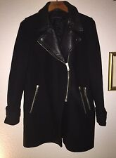Black ZARA Coat With Leather Detail And Zip Fastening M/L
