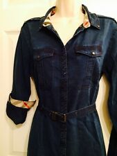 Authentic NWT BURBERRY BRIT JASMIN BLUE DENIM SHIRTDRESS Sz US 8/UK 10/EU 42