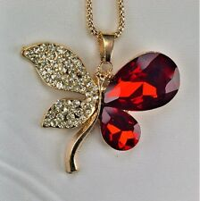 Red Gems White Crystal Butterfly Pendant High Gloss Gold Plated Chain Necklace