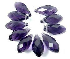 20x9mm Amethyst Glass Quart Faceted Teardrop Beads (10)