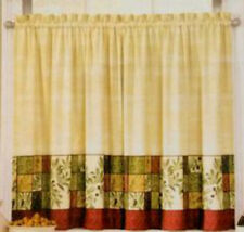 Tuscan Olives Kitchen Window Tiers Green Tan 36x60 Interiors by Design Polyester