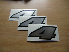 set of 3 - Black & Chrome number 4 decals / stickers IMPACT 60mm